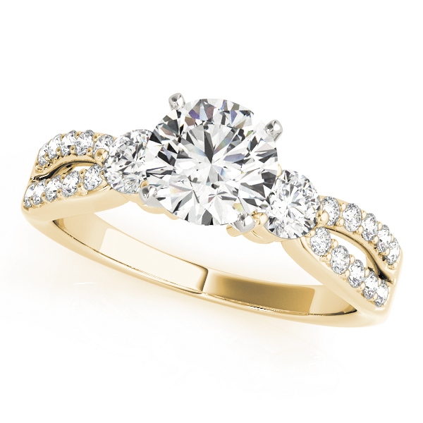 OVNT84420 14kt gold Engagement Rings 3 STONE
