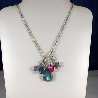 Sapphire rondel charm necklace