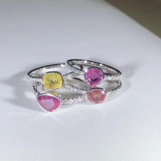 Sapphire and Diamond Ring in 18K white Gold (Full Set)
